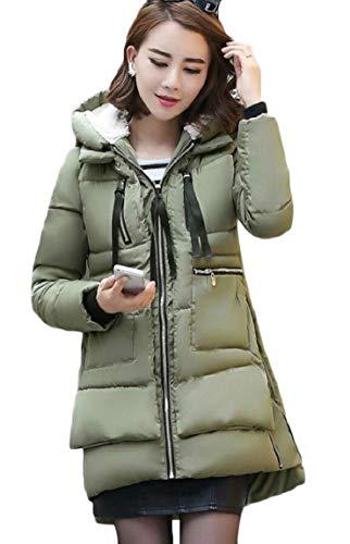 Cappuccio Il Rivestimento Zip Sicurezza Delle Riempito Lungo Con Cappotto Armygreen Inverno Di Caldo Donne 1xFCqww4