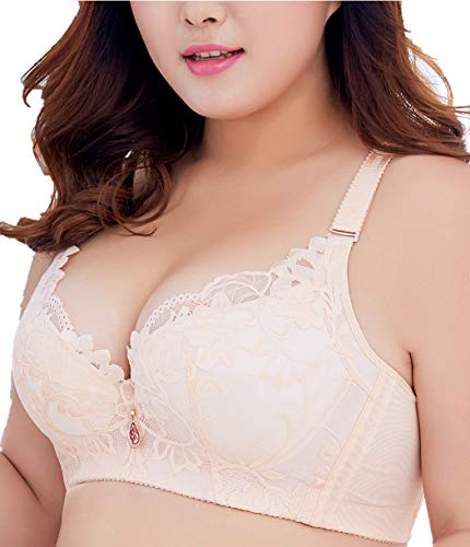 (Lace Bra Push Up 40DD Mesh Lace Underwire Bra for Women Bra Oversized Soft Cup Everyday Bra)