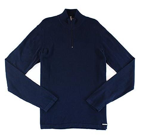 Michael Kors Mens Large Ribbed Quarter Zip Sweater Blue L - Michael Kors Zip Cardigan