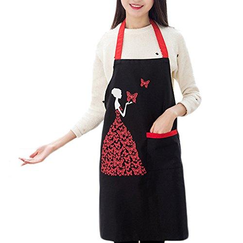 Da.Wa Kitchen Apron with Pocket Garden Craftsmen Waitress Waiter Bib Apron for Cooking Baking Crafting Work Shop BBQ