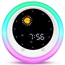 I·CODE Time to Wake Alarm Clock for Kids, Children's Sleep Trainer, Kids Wake Up Light, Sleep Sound Machine
