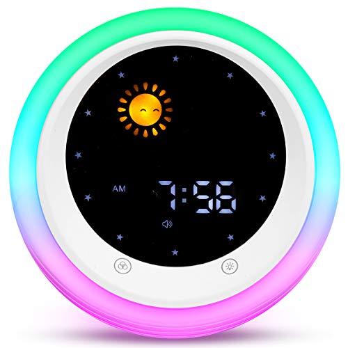 ICODE Time to Wake Alarm Clock for Kids, Children's Sleep Trainer, Kids Wake Up Light, Sleep Sound Machine