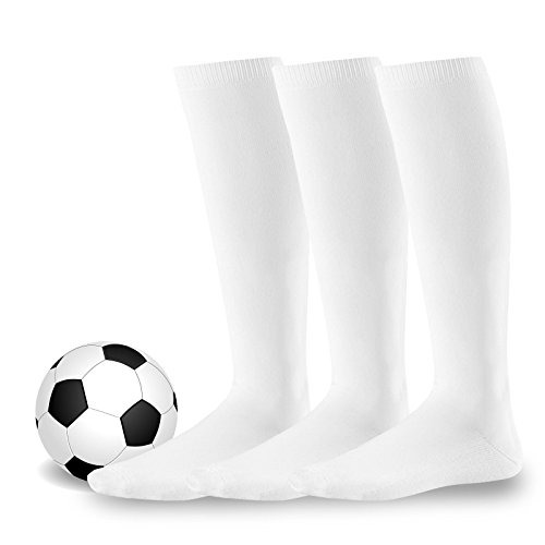 Soxnet Cotton Unisex Soccer Sports Team Flat Knit Socks 3 Pack (Junior (7-9), White) (Socks Football White)