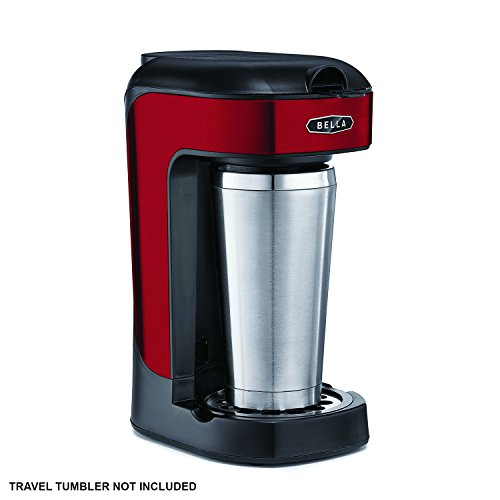 BELLA 14485 One Scoop One Cup Coffee Maker, Red and Stainless Steel