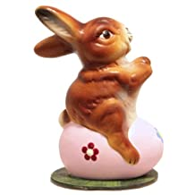 Schaller Bunny Rabbit Sitting on Pink Easter Egg Paper Mache Candy Container