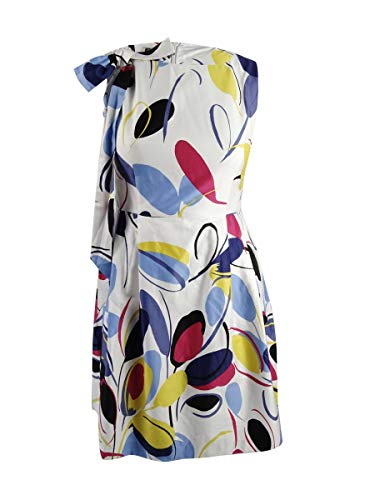 (Anne Klein Women's Abstract Belted A-Line Dress White 12 )
