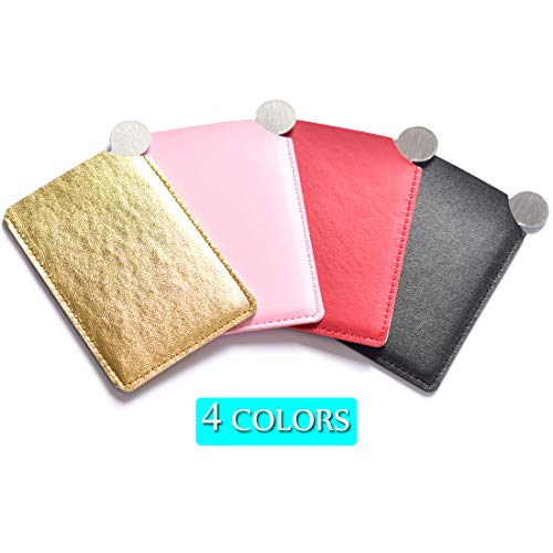 R.FLOWER 4PCS Handheld Mirrors Purse Handbag Cosmetic Makeup Rectangular Pocket Mirror with Stanless