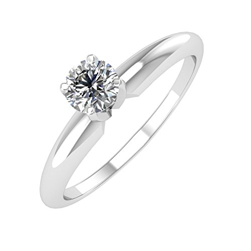 (14k White Gold Solitaire Diamond Engagement Ring Band (1/3 Carat))