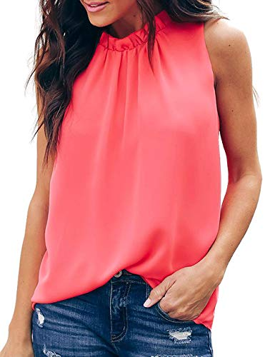 CILKOO Women Tanks Summer Looses Sleeveless High Neck Halter Tank Tops Blouses Red US4-6 Small ()