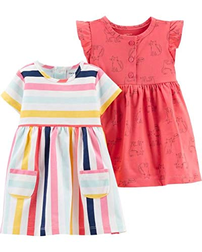 Carter's Baby Girls' 2-Pack Jersey Dress Set (Pink Kitties/Stripe, 18 Months) -