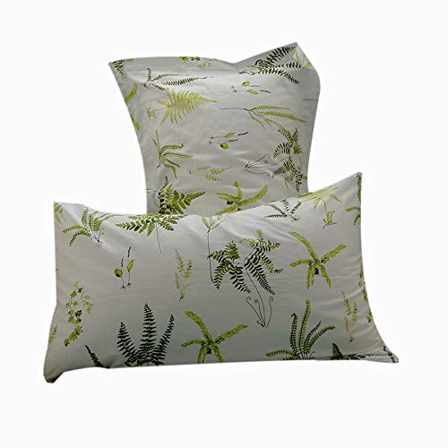 (FenDie Pillow Cases Set of 2 - Green Leaves Pattern Standard Size (20