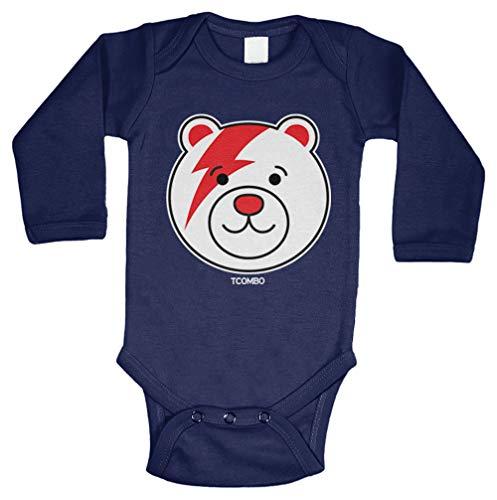 Teddy Bear - Lightning Bolt Iconic Long Sleeve Bodysuit (Navy Blue, 12 Months) ()