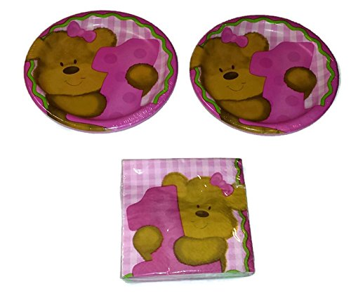 Baby's 1st Birthday Pink Girl's Teddy Bear Bundle Plates (16) Napkins (16) Celebration Teddy Bear