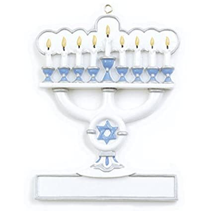 Hanukkah Christmas Ornaments.Personalized Menorah Christmas Ornament White Blue Candelabrum With Seven Candle Branches Star Of David Jewish Worship Religious 1st Family