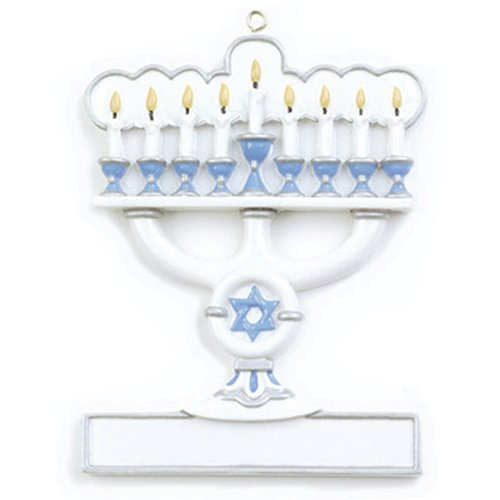 Personalized Christmas Ornaments 2017 Menorah Holiday Tree Ornament Jewish Happy Hanukkah Star of David Religious Candles