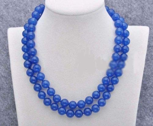 FidgetFidget Women's 8/10/12mm Natural Jade Gemstone Round Beads Long Necklace 36-50'' 12mm 36'' Blue Jade