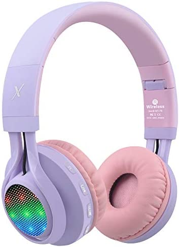 Riwbox WT-7S Bluetooth Headphones Light Up, Foldable Stero Wireless Headset with Microphone and Volume Control for PC/Cell Phones/TV/iPad (Purple)