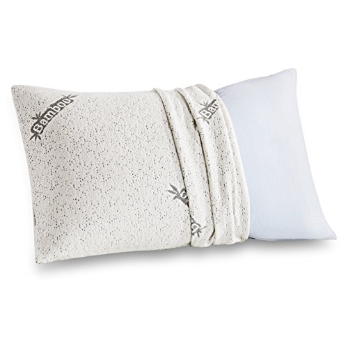 Comfort & Relax Shredded Memory Foam Pillow with Bamboo Fiber Cover, Queen Size, 1-Pack