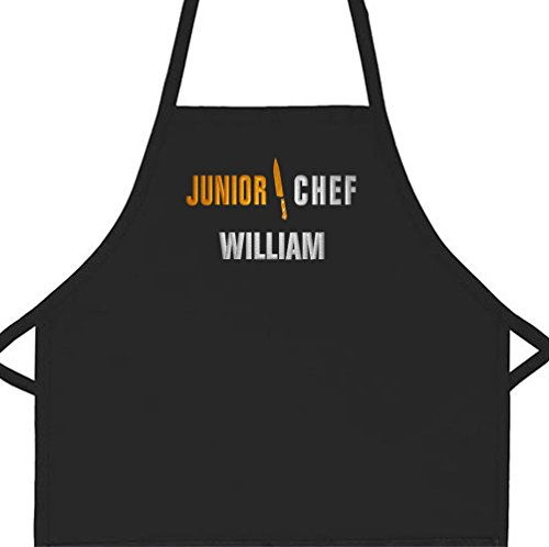 Personalized Chef Apron - Personalized Apron Embroidered Junior Chef Kids Apron (Black, Long Child 16