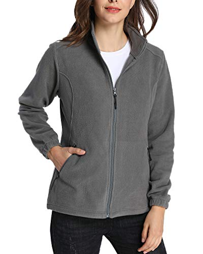 (iLoveSIA Women's Winter Warm Slim fit Full Zip Fleece Jacket US Size S Grey)