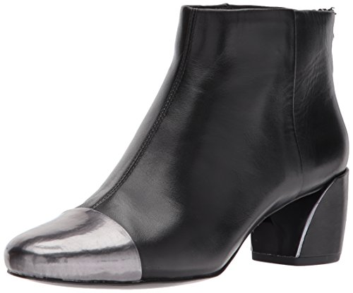 Nine West Women's joannie Ankle Boot, Black/Pewter Leather, 9 Medium US