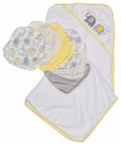 Little Beginnings Elephant Print Hooded Towel and Washcloths Gift Set, Yellow