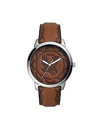 Fossil FS5543 Reloj Caballero, 44 mm, Color Plata/Marrón