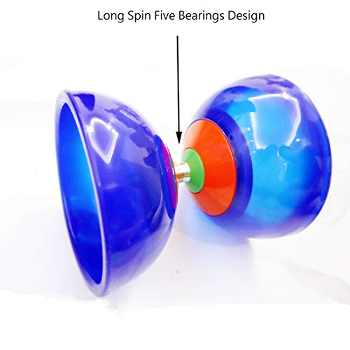 "OVOKIA Five Bearings Chinese Yoyo 5"" Diabolo Toy with Fiberglass Diablo Sticks & String with Drawstring Bag (Translucent Blue)"