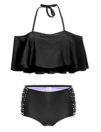 Teamyy Bikini Ropa de Baño Bañador Moda para Mujer Volante Cintura Alta Sólido Sin Tirante negro