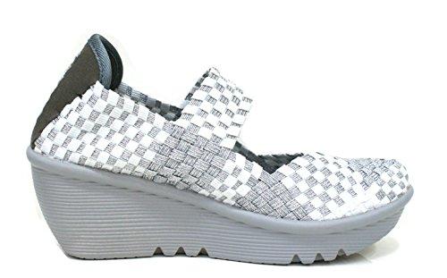 weiß silber Frau ODH923 CAF Sandalen Bianco Keil Schuhe NOIR Licht elastischen Bqf7H6