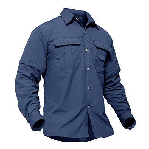 - TACVASEN Men's Quick Dry UV Protection Zipper Convertible Long Sleeve Shirt Blue,Large