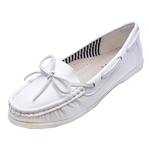 HeelzSoHigh Ladies Flat White Slip-On Nautical Comfy Deck Boat Loafers Shoes Pumps Sizes 3-8 UI6wQM