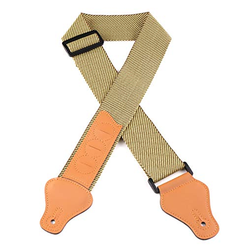 TOCHIC Guitar Strap with 3 Pick Holder Cases PU Leather Ends Adjustable for Acoustic Electric Guitar and Electric Bass