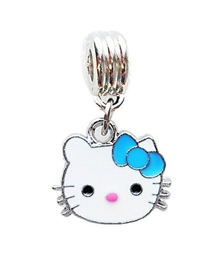 SMALL HELLO KITTY W/ BLUE BOW CHARM SLIDER PENDANT FOR YOUR NECKLACE EUROPEAN BRACELET DIY PROJECTS ETC.