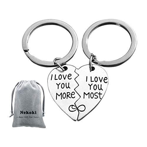 Couples Keychains Set,I Love You More&I Love You Most Couples Matching Key Ring,Personalized Couples Jewelry,Graduation Gift, for Boyfriend Girlfriend and Best ()