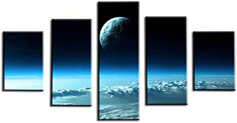 FASH 5 Canvas Paintings 5 Piece Wall Art Painting Living Room Wall Art Pictures HD Printed Home 5 Panel Blue Starry Sky Scenery Modern Painting On Canvas Decoration Poster No Frame