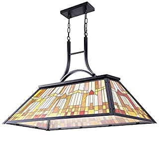 Wellmet Vintage 3-Light Pool Table Light Pendant with Tiffany-Style Printed Shade for Game Room 7 ft/8 ft/9 Feet Snooker Billiards Light Man Cave Club Kitchen Island Bar Game Dinning Room (B07YYRWRSM) | Amazon price tracker / tracking, Amazon price history charts, Amazon price watches, Amazon price drop alerts