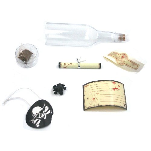 [Pirate Party Skull & Crossbones Invitations in A Bottle (12 Pack)] (Pirate Cost)