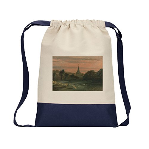 A Church (Thomas Churchyard) Canvas Backpack Color Drawstring Bag - Navy by Style in Print