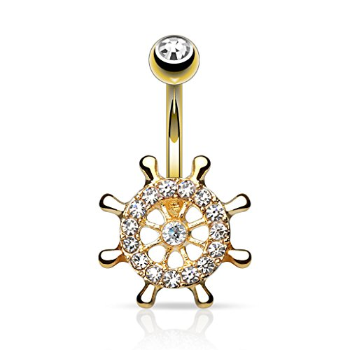 Pierced Owl Yacht Wheel with CZ's 14kt Gold Plated Navel Belly Ring 14g