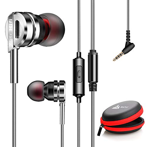 WeCool Mr.Bass W007 Hi-Fi Stereo in-Ear Metallic Earphones with mic or Super Bass Sports Earphone with Microphone with Free Carry case (Silver)