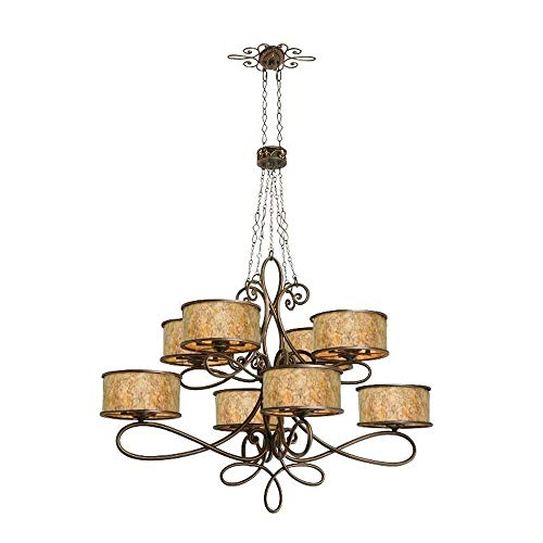 (Kalco 6583AC Whitfield - Forty Light 2-Tier Oval Chandelier Without Scroll, Antique Copper Finish with Stained Champagne Mica Shade )