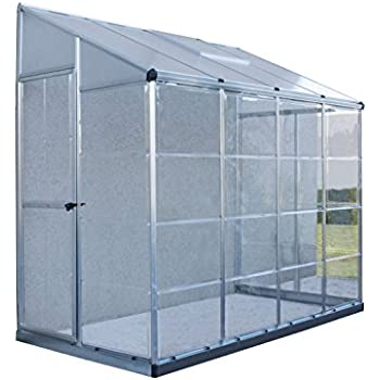 Palram Hybrid Lean Greenhouse, 4' x 8', Silver