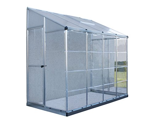 Palram Hybrid Lean Greenhouse, 4′ x 8′, Silver