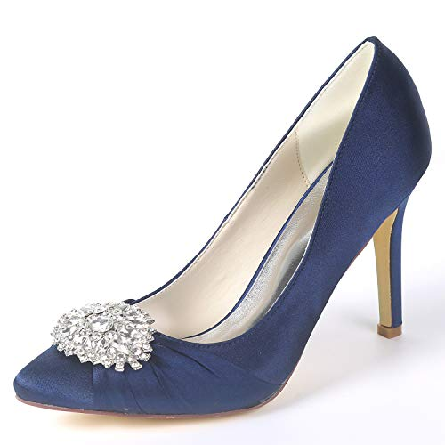 Zapatos Spring Navy Platform Tacones 9 De Mujeres Blue Fy060 Party Satin Las Spool Classic Eleoulck 5cm Boda White PSd1xanPW