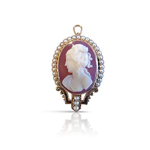 Milano Jewelers Large Victorian Pearl 14KT Rose Gold Lady Cameo Brooch Pendant #1959 ()