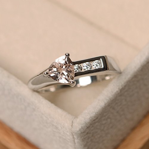 (morganite engagement rings for women sterling silver trillion cut handmade jewelry)