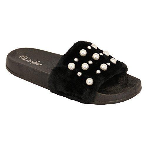 Damen flach ohne Bügel Kunstpelz Schieber Perle Sandalen Sommer Pantoffeln Design schwarz - 5837