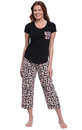 PajamaGram Pajamas for Women Cotton - Womens Capri Pajama Sets, Black, XL, 16 ()
