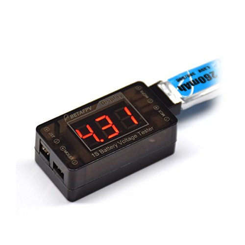 BETAFPV 1S LiPo Battery Tester Voltage Checker for Tiny Whoop Blade Inductrix 1S FPV Battery Like 260mAh 300mAh 550mAh with JST-PH Connector or Molex Connector ()